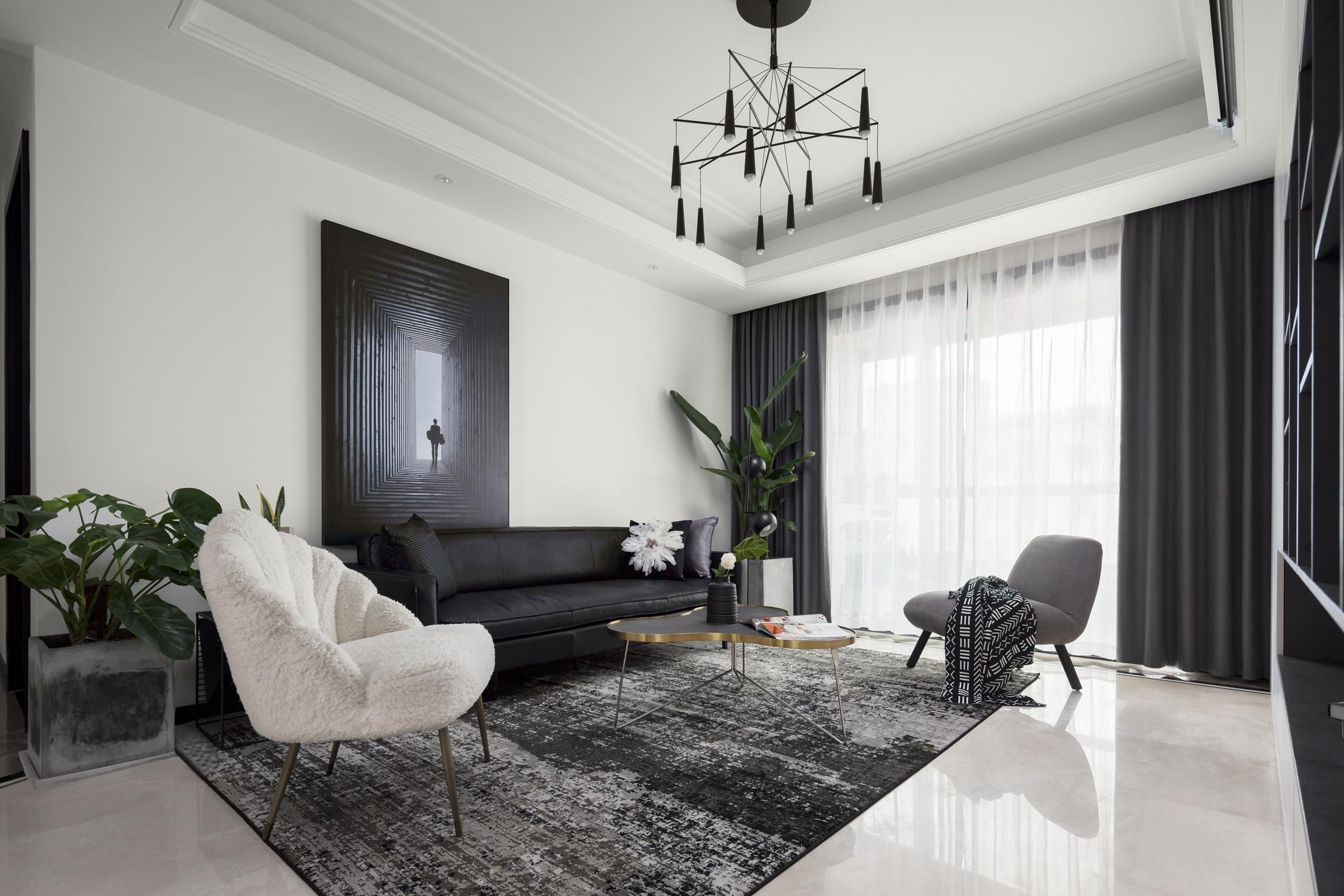 简约现代风格三居客厅沙发墙装修效果图