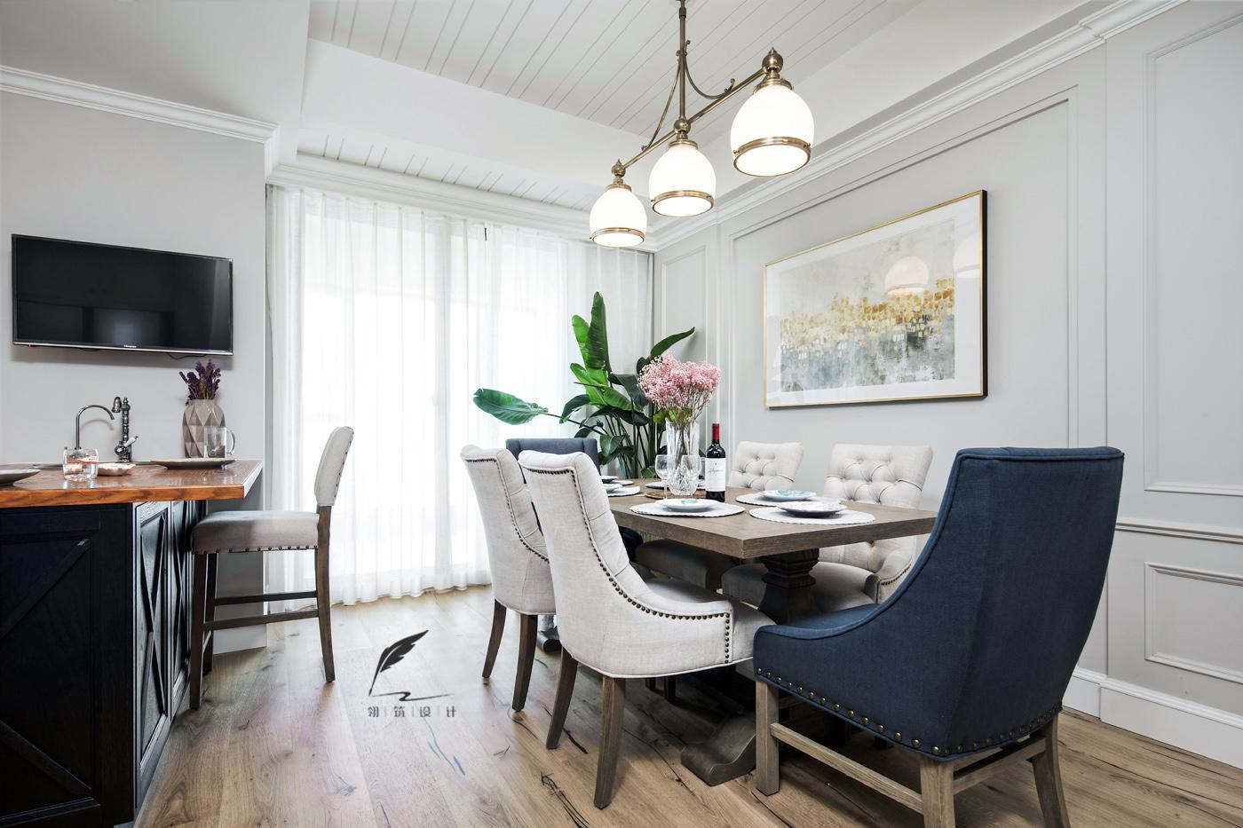 美式风格四居室餐厅装修效果图