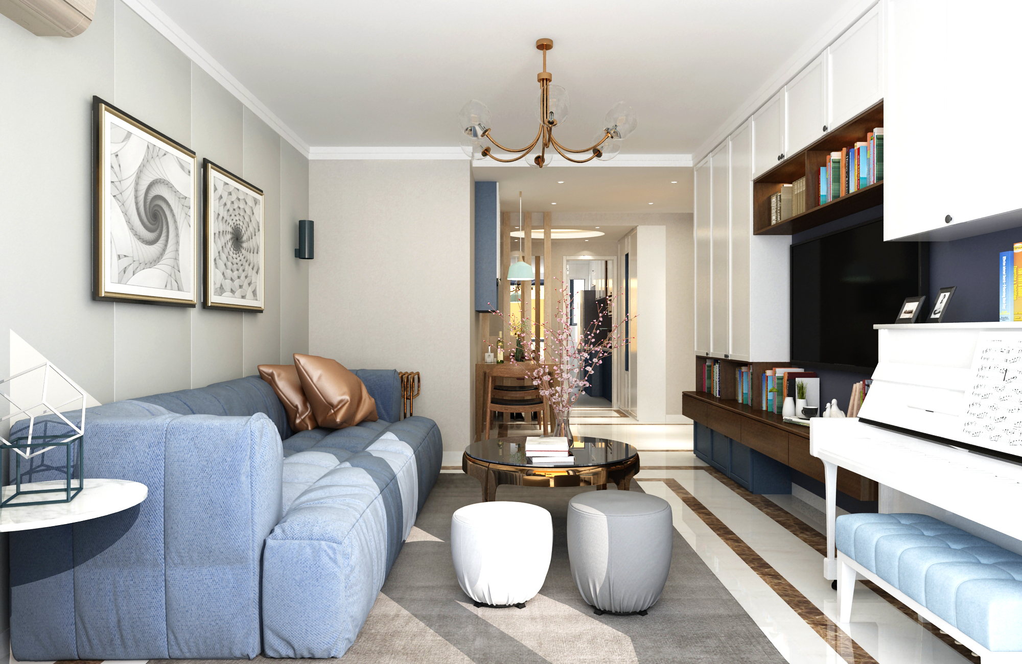 85平米二居客厅装修效果图
