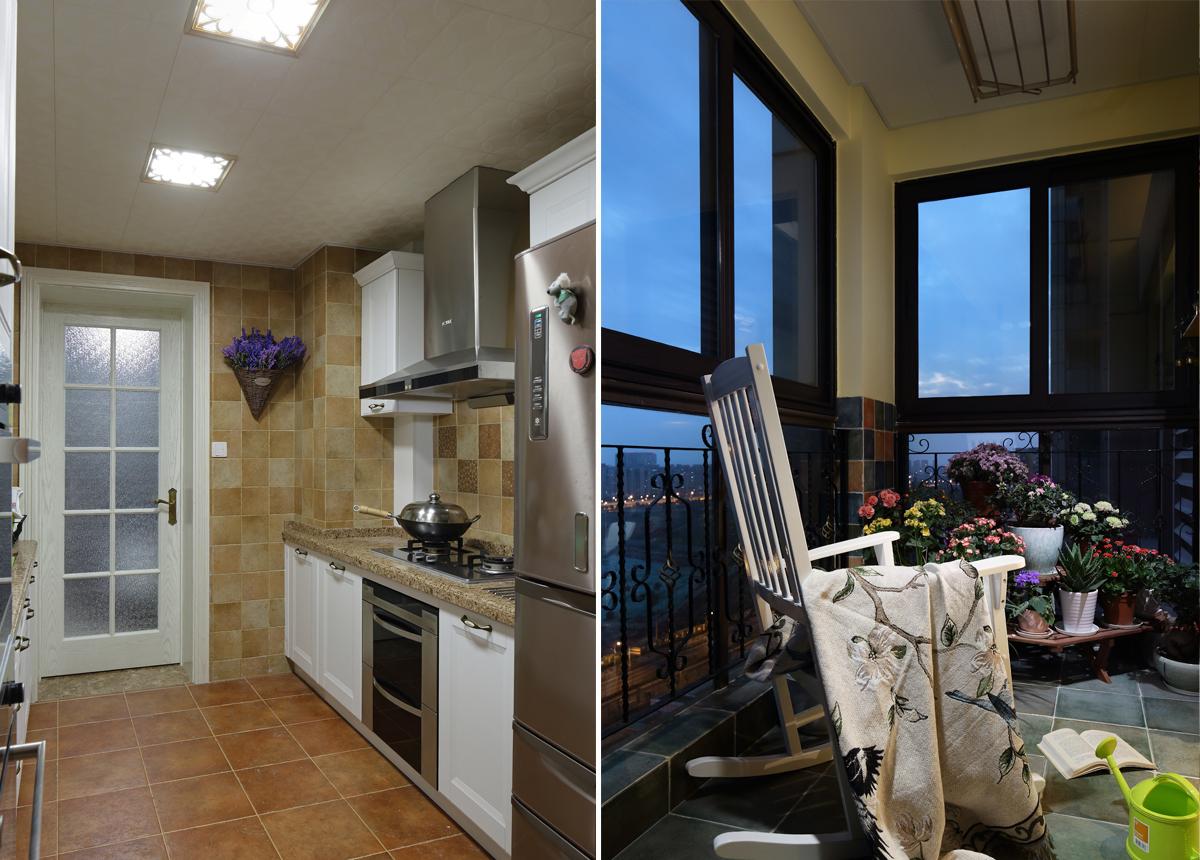 美式混搭风格厨房阳台装修效果图