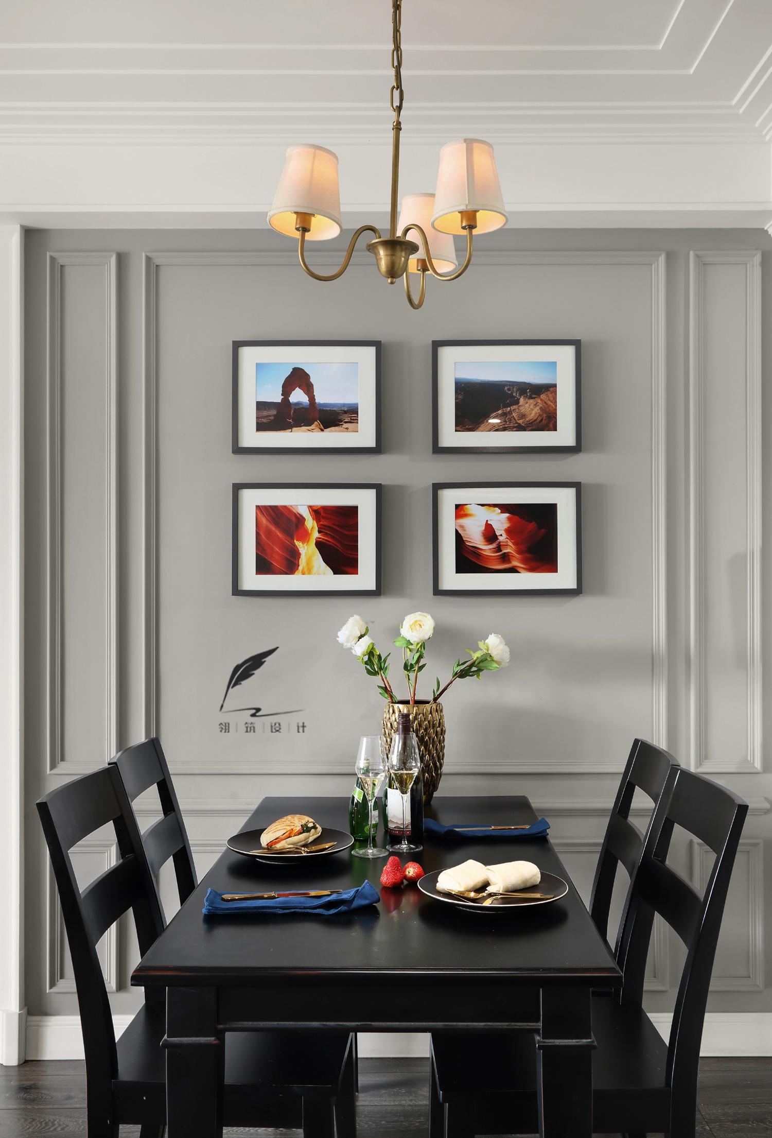 130㎡美式风餐厅背景墙装修效果图