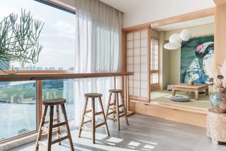 禅意中式风装修木质吧台设计