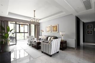 现代美式风格三居客厅装修效果图