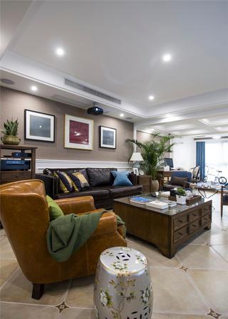 美式复式三居室客厅装修效果图