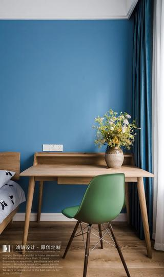 大户型北欧风装修原木书桌设计图