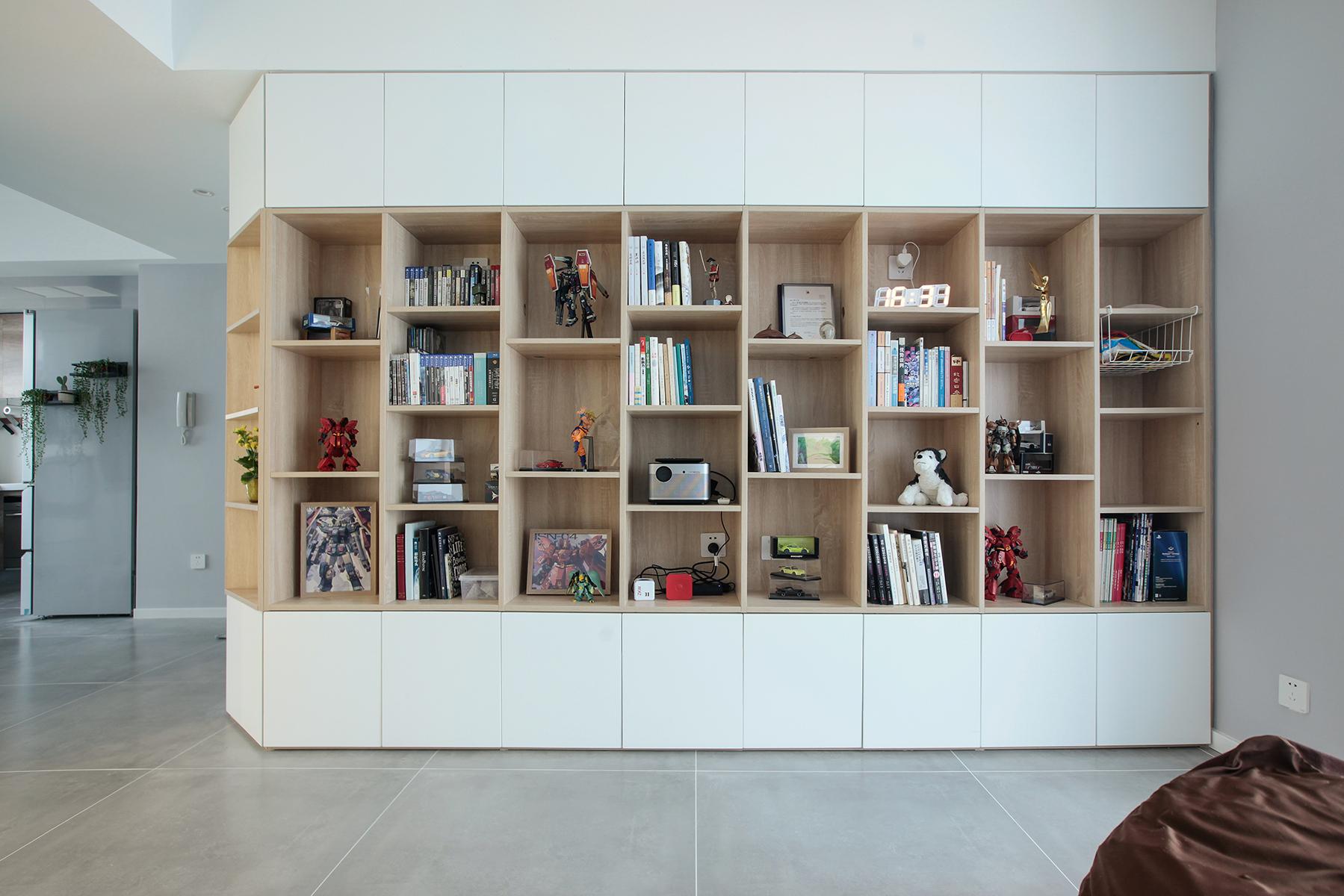 78㎡现代二居书柜墙装修效果图