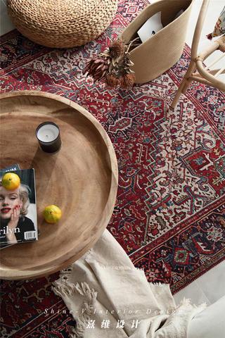 123平米两居室装修茶几地毯特写