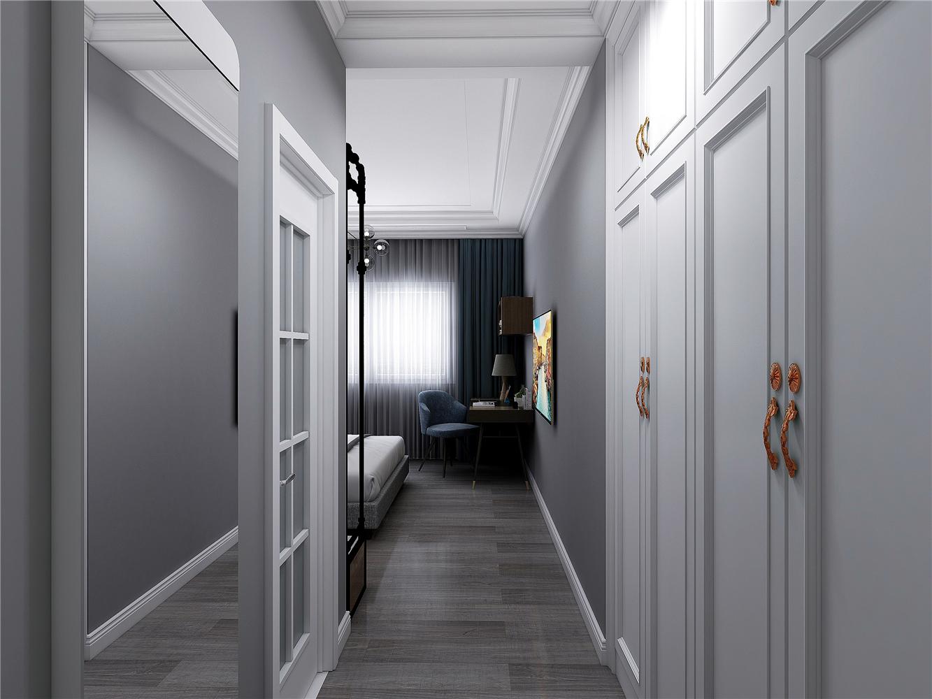 130㎡现代轻奢风卧室过道装修效果图
