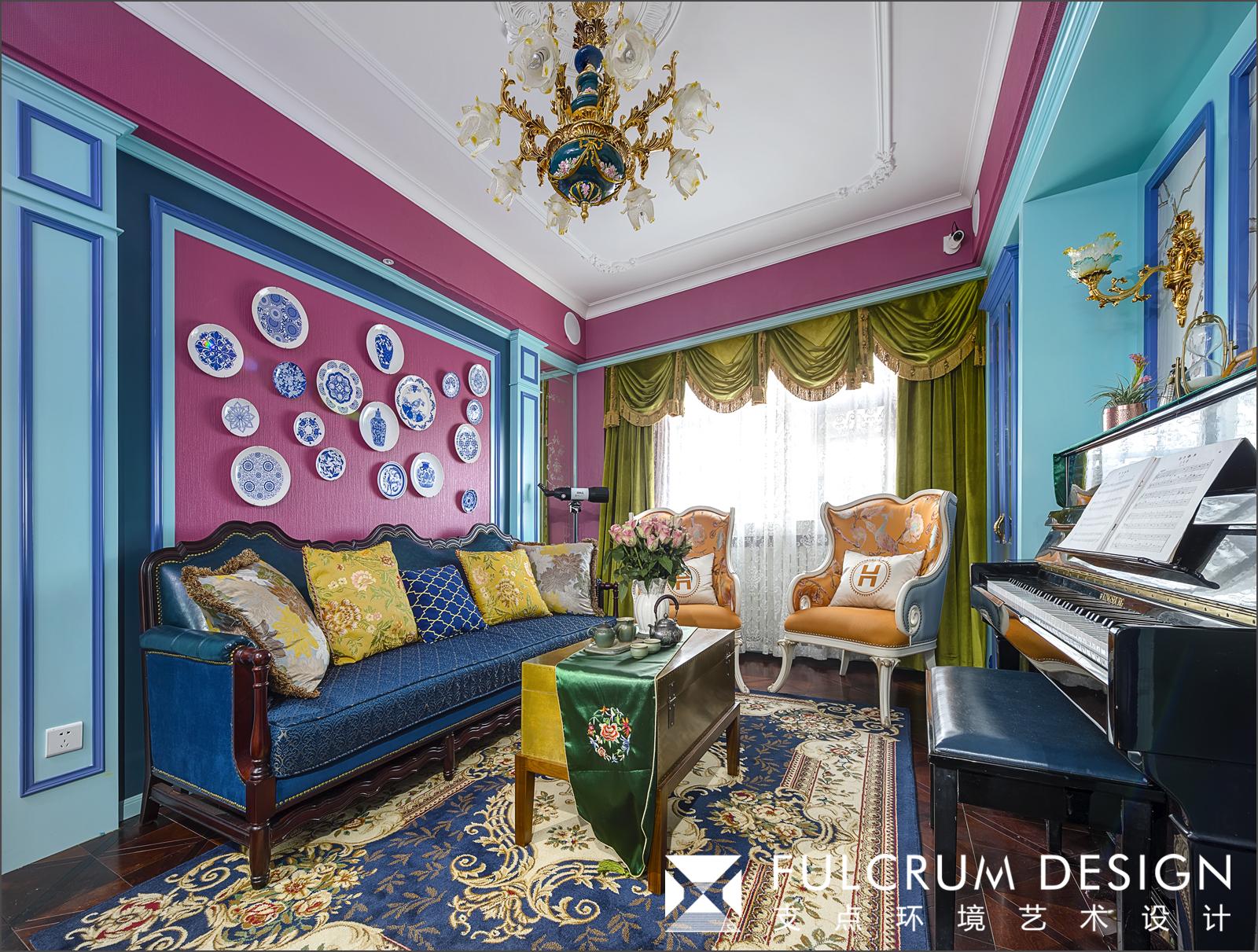 160平混搭风格客厅装修效果图