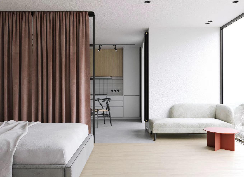 47平小户型公寓装修卧室窗帘设计图