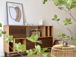 简约日式风格装修原木边柜设计图