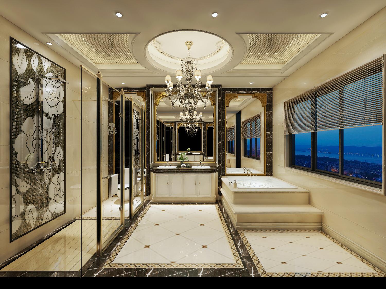 奢华混搭别墅卫生间装修效果图