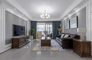 125平美式风格客厅装修效果图