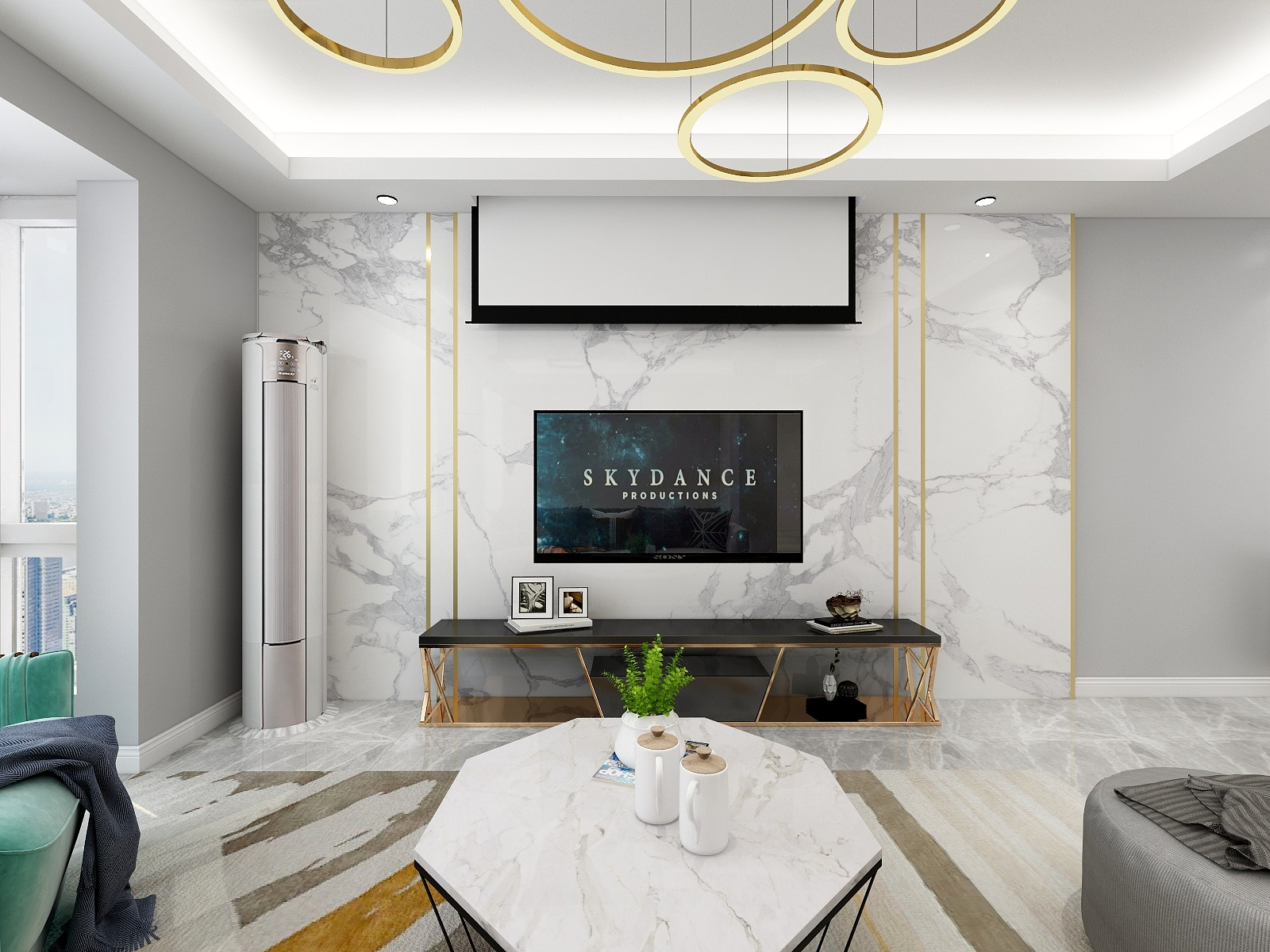 复式简约风格电视背景墙装修效果图