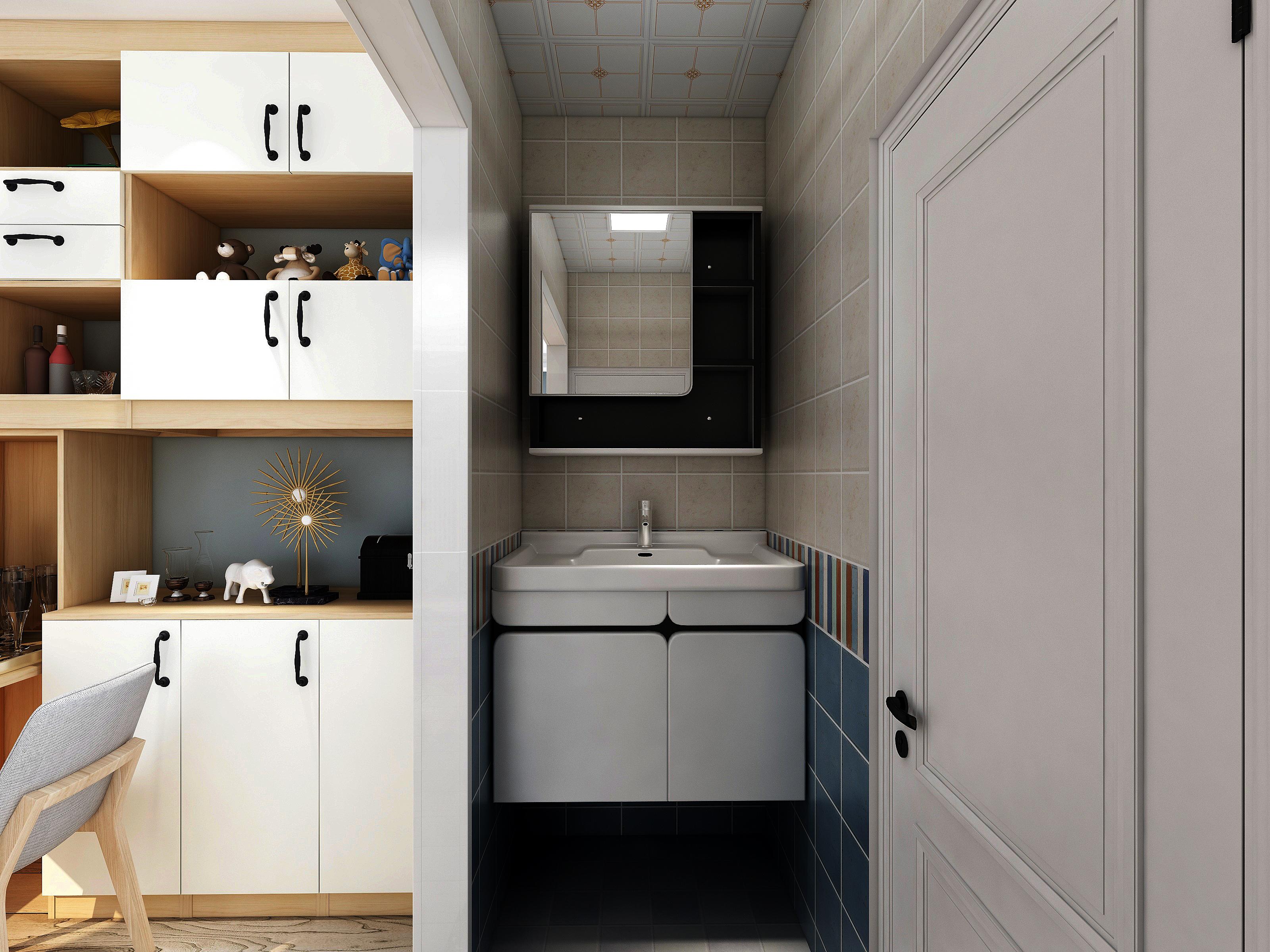 65㎡北欧风格洗手台装修效果图