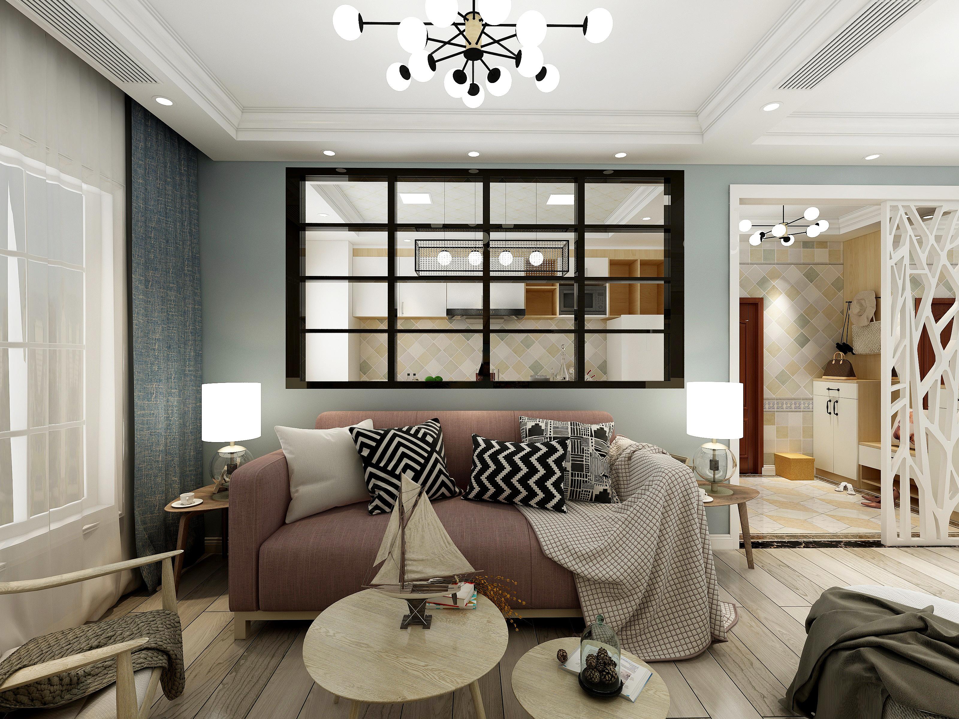 65㎡北欧风格沙发背景墙装修效果图