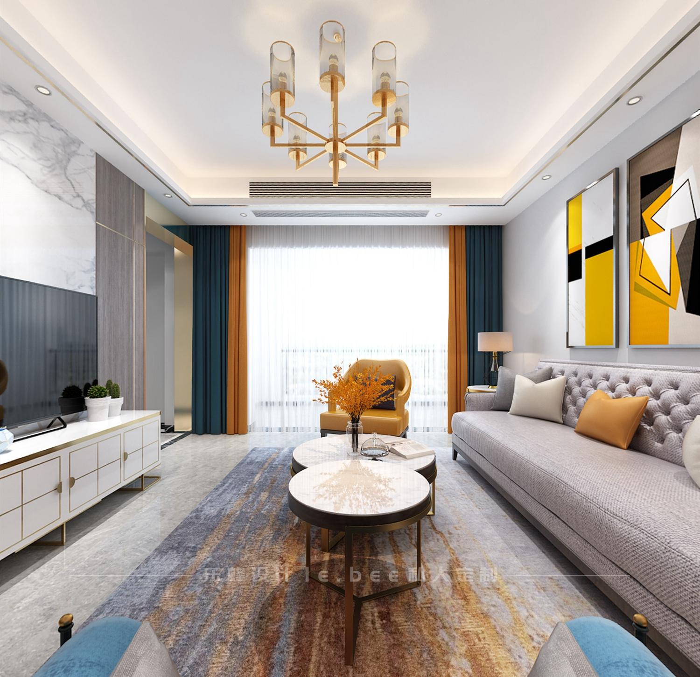 108平米三居室客厅装修效果图