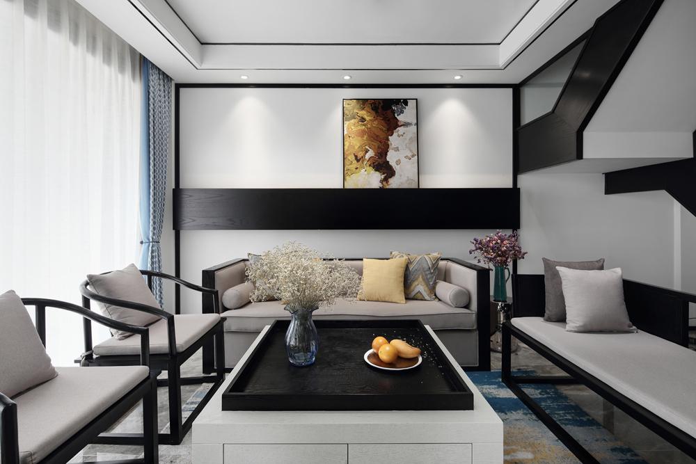 复式新中式风格客厅装修效果图