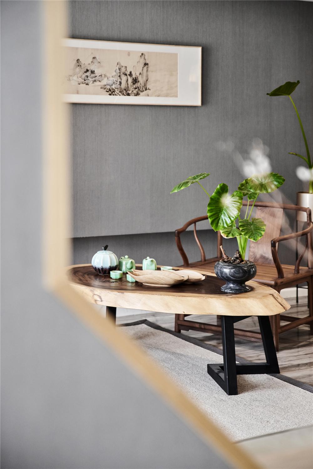 165平新中式风格装修茶桌小景