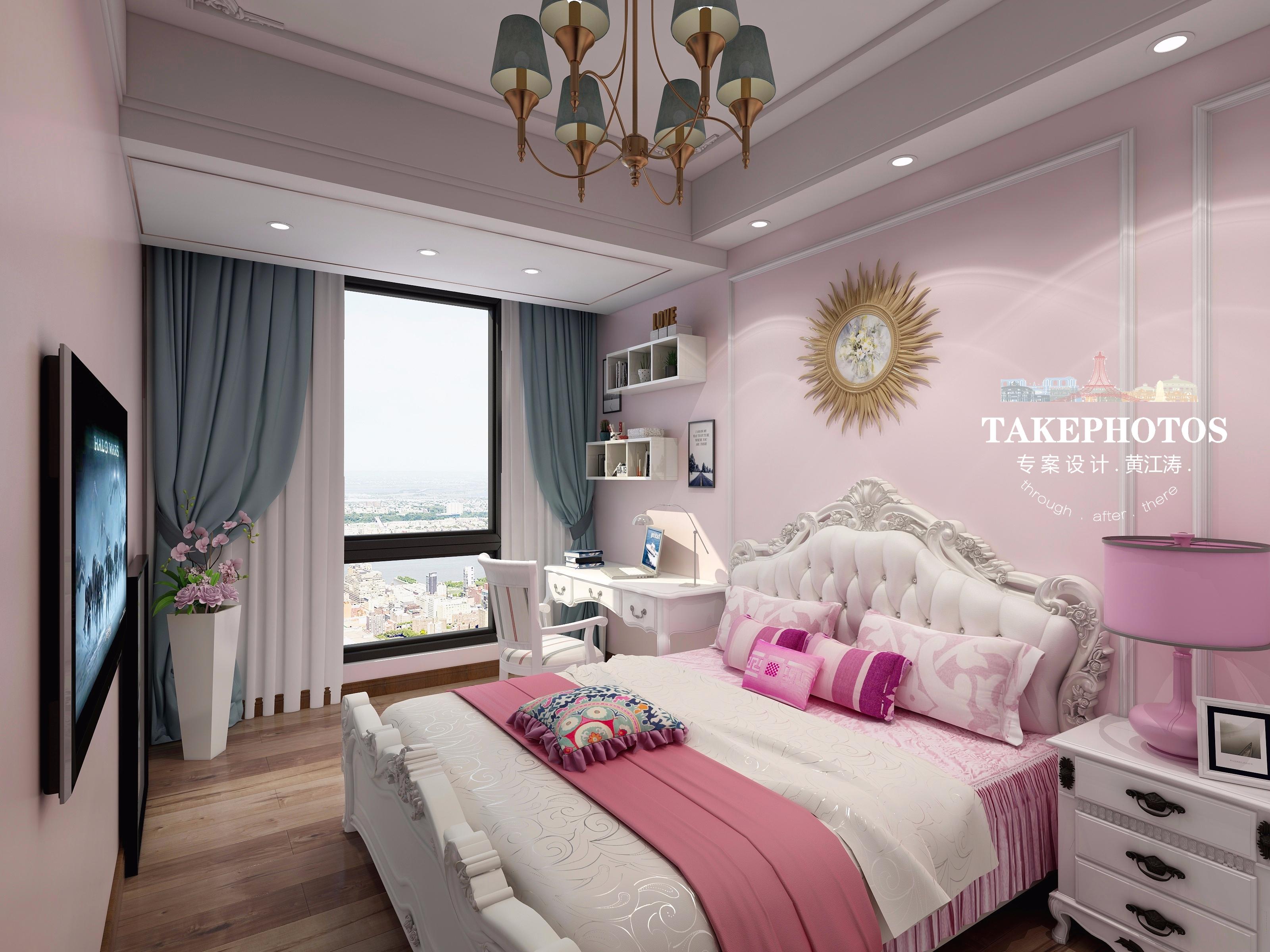 粉色调欧式风卧室装修效果图
