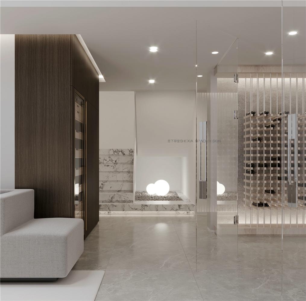 极简轻奢别墅楼梯过道装修效果图