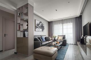 现代简约三居室客厅书架隔断装修效果图