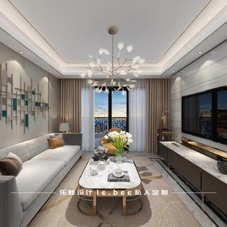 120平现代轻奢风客厅装修效果图