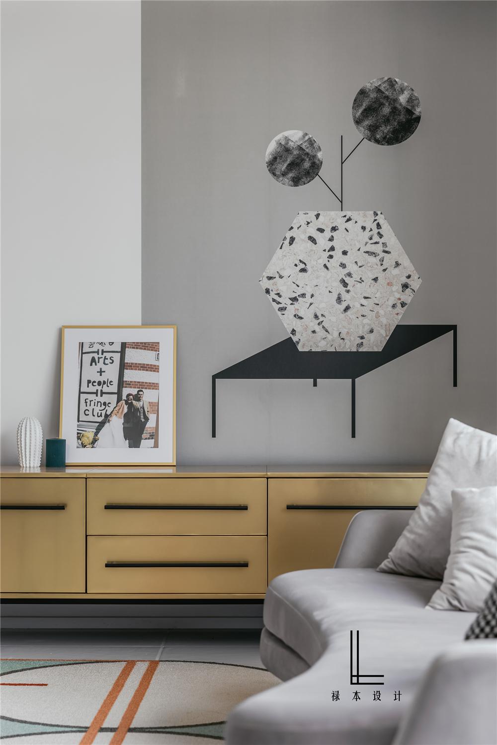 简约现代三居装修客厅边柜设计图