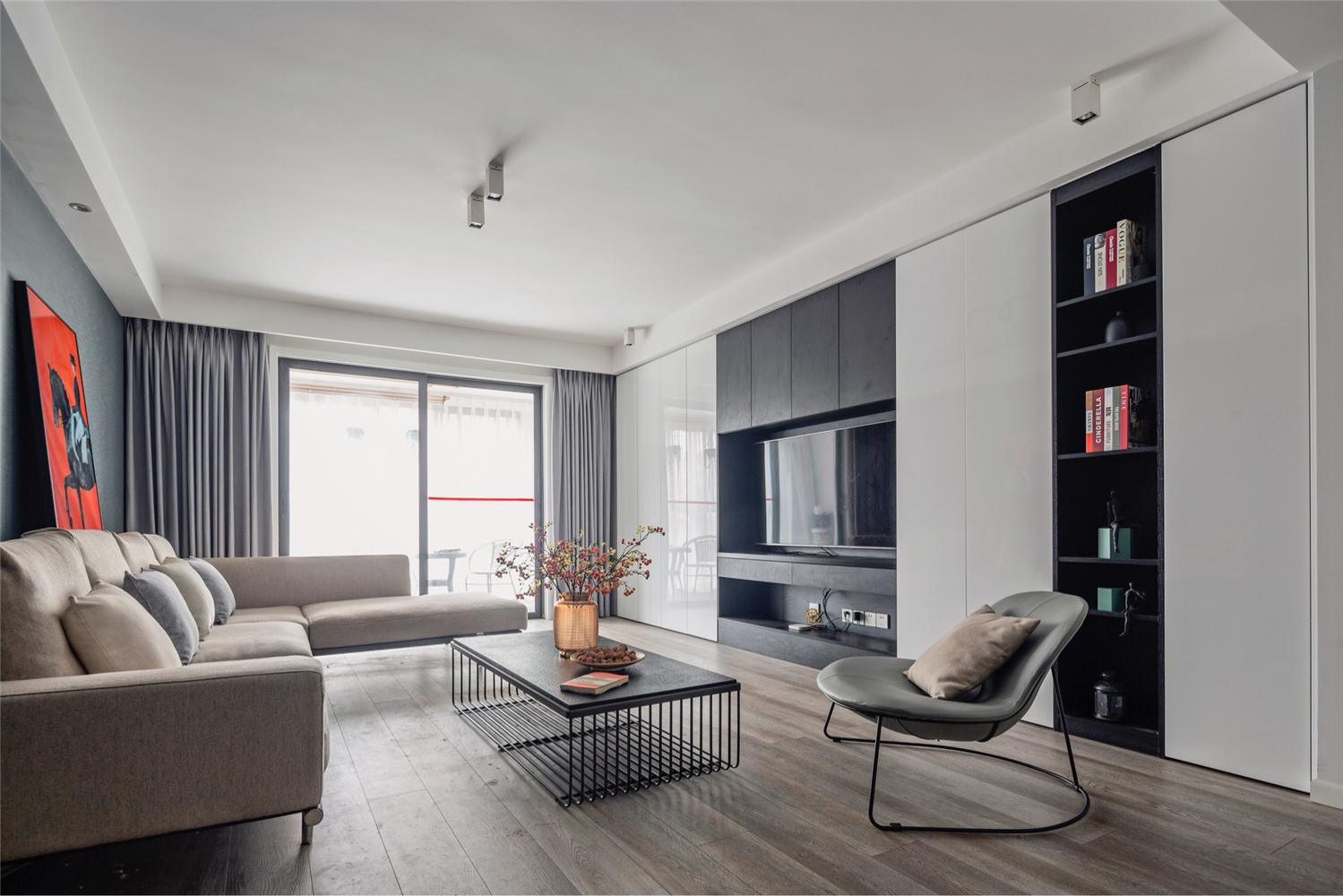 简约现代三居室客厅装修效果图