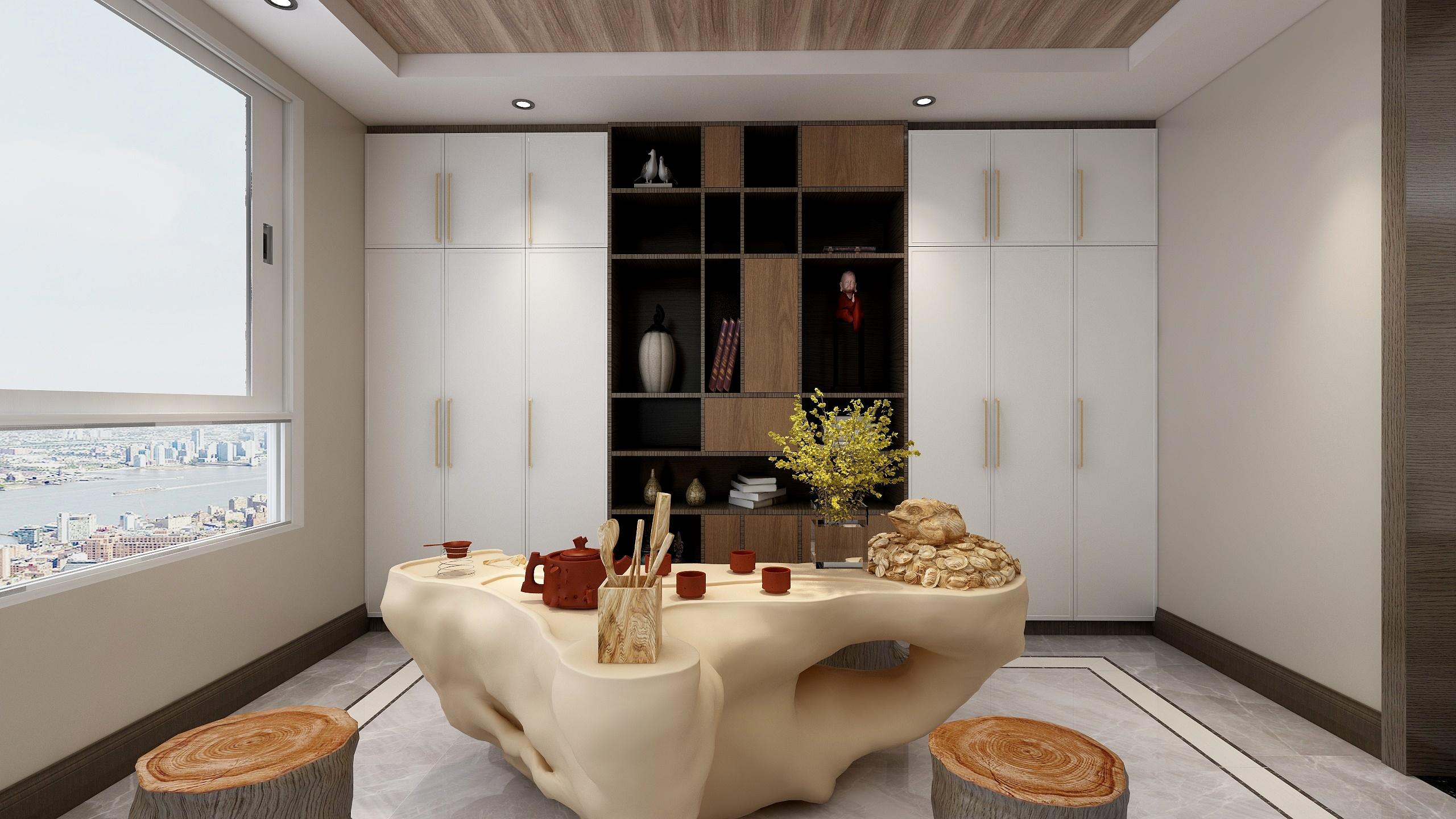 现代中式风格三居阳台茶室装修效果图