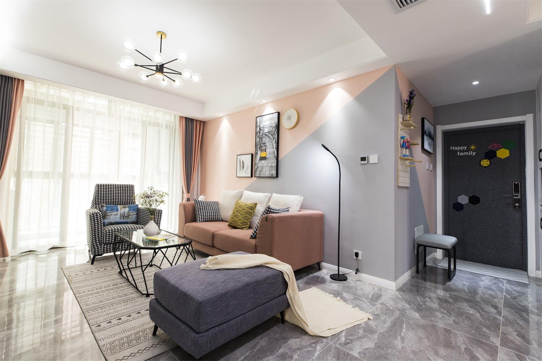 北欧风格三居室沙发背景墙装修效果图