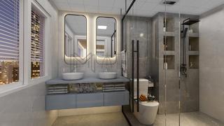 现代混搭三居卫生间装修效果图