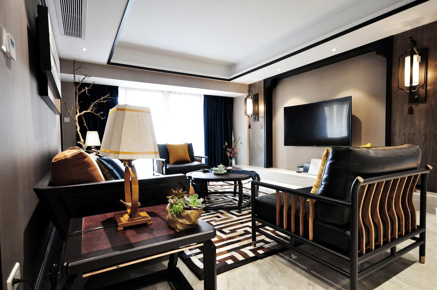 165㎡中式风格客厅装修效果图