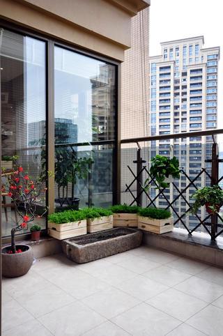 165㎡中式风格阳台装修效果图