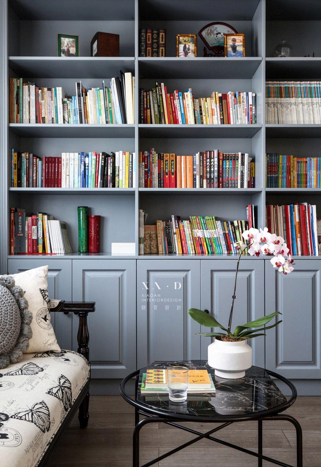 160㎡混搭风格装修书柜设计