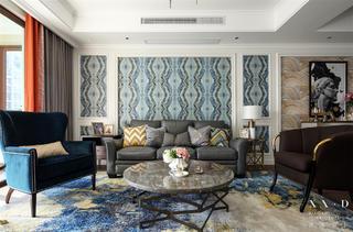 美式风格四居沙发背景墙装修效果图