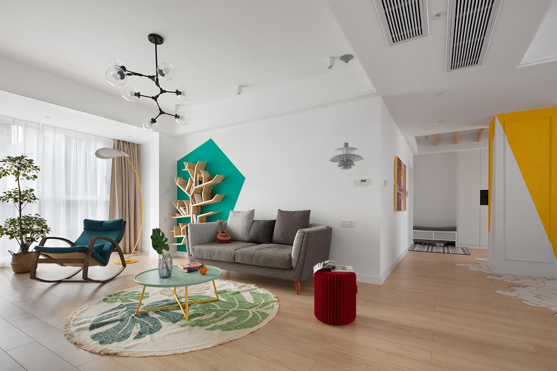 140㎡北欧风客厅沙发墙装修效果图