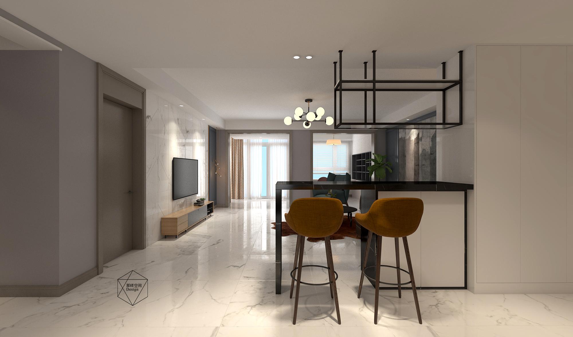 现代简约三居装修吧台设计图