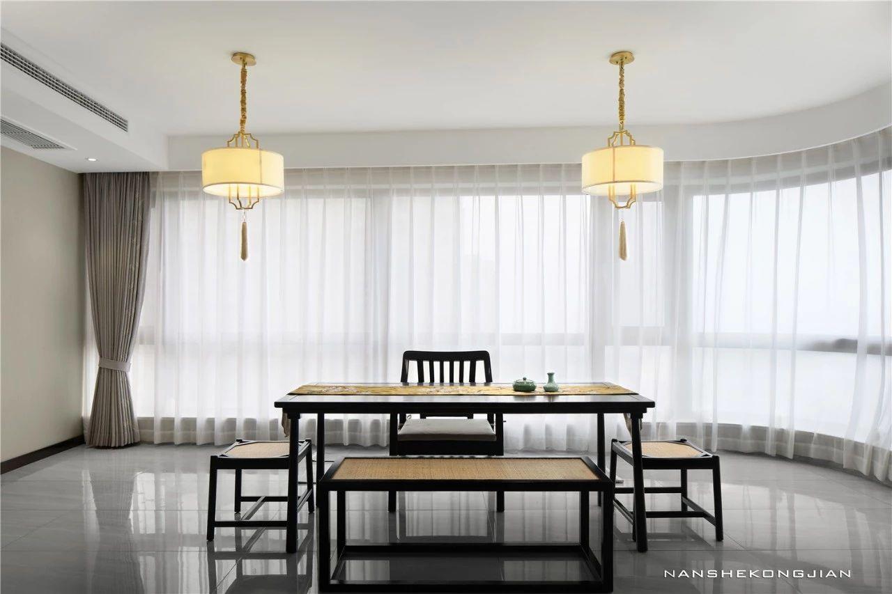 大户型现代中式阳台茶室装修效果图