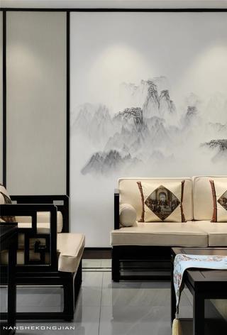 大户型现代中式装修沙发背景墙细节图