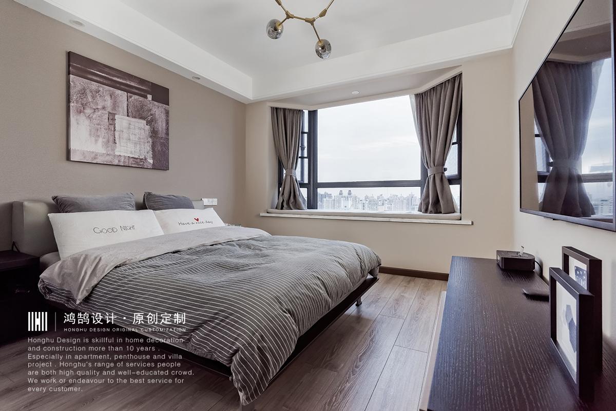 100平现代简约卧室装修效果图