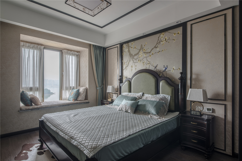 180平新中式卧室装修效果图