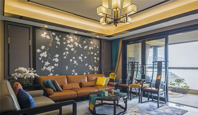 180平新中式客厅沙发墙装修效果图