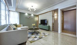 现代混搭三居室客厅电视墙装修效果图