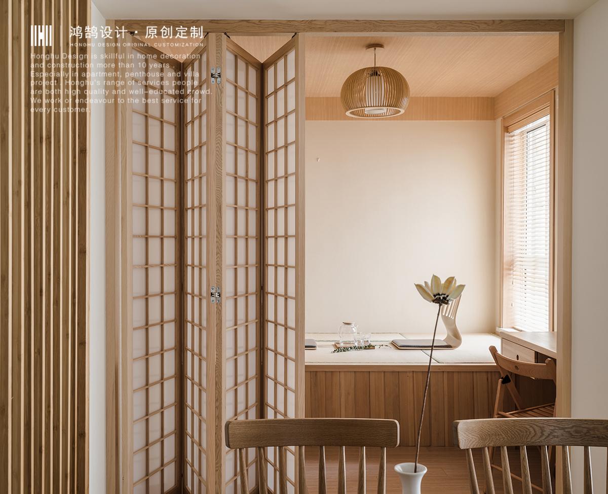 日式风格二居装修折叠门设计图