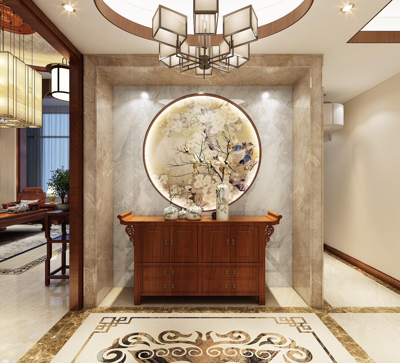中式别墅玄关装修效果图