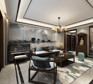新中式风格客厅吊顶装修效果图