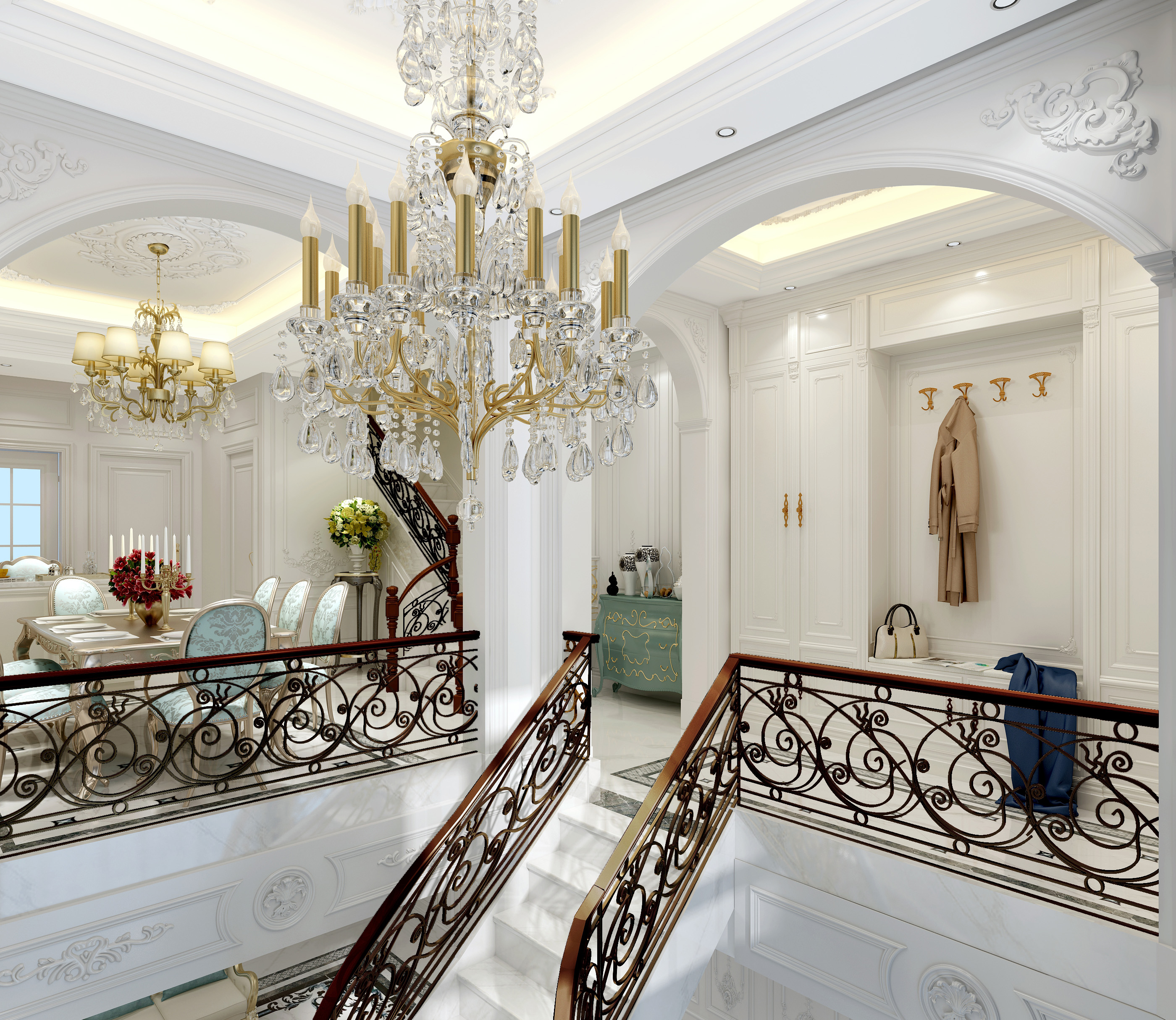 法式别墅装修水晶吊灯设计