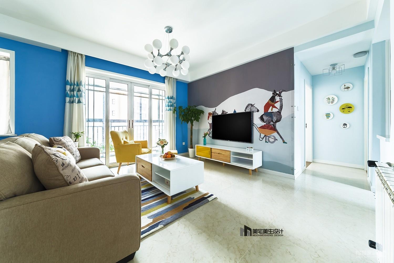 北欧风格三居客厅电视墙装修效果图