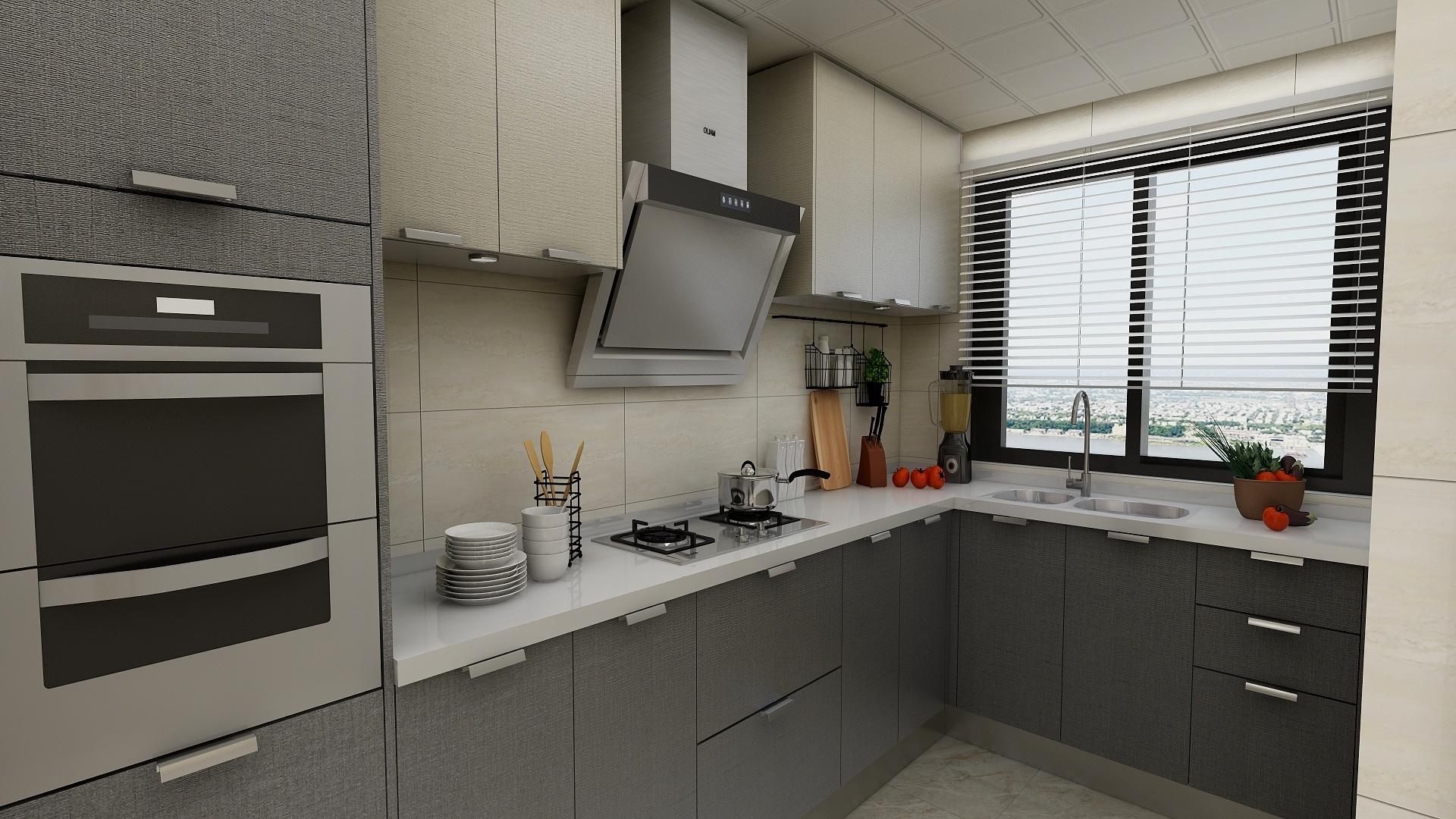 80㎡新中式装修厨房效果图